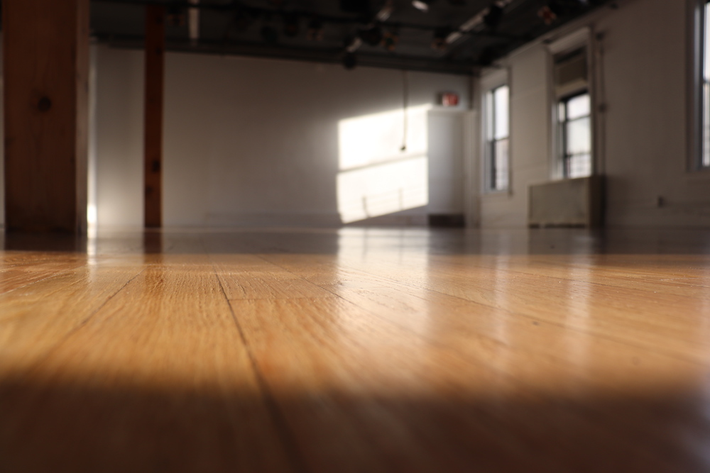 Studio D at BAX with smooth wooden floors, whites walls, two wooden pillars on the left and a row of windows on the right where sun streams in and casts light and shadows throughout the room.
