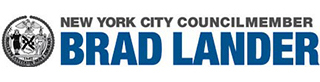 The logo for New York City Council Member Brad Lander in black and blue block text on a white background.